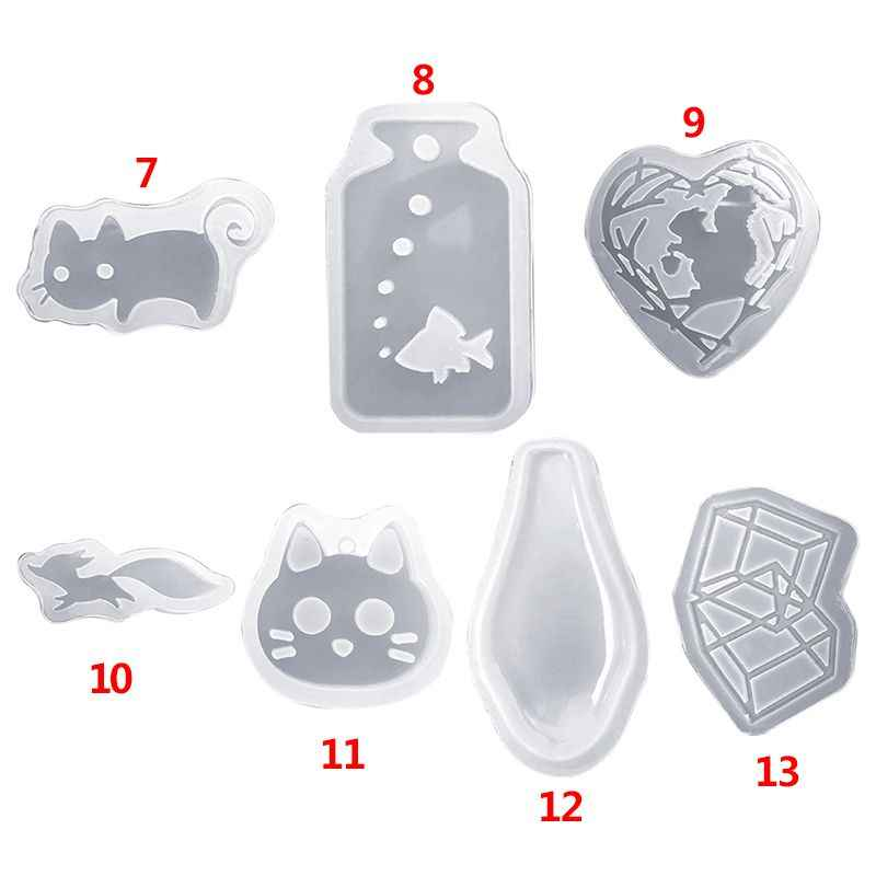 UV Epoxy Resin Clay Mold Cat Rabbit Cartoon Animal Model DIY Craft Making Accessories Pendant Jewelry Mould