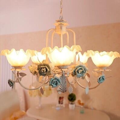 5 Lights,70CM,Mediterranean Sea,Pure handmade Ceramic flowers chandelier lamp,For Living room dining room bedroom,Bulb Included