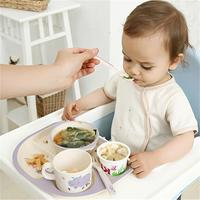 5pcs/set Baby Feeding Bowl Plate Dishes Fork Spoon Cup Children Tableware Bamboo Fiber Kids Cartoon Separation Feeding Plate