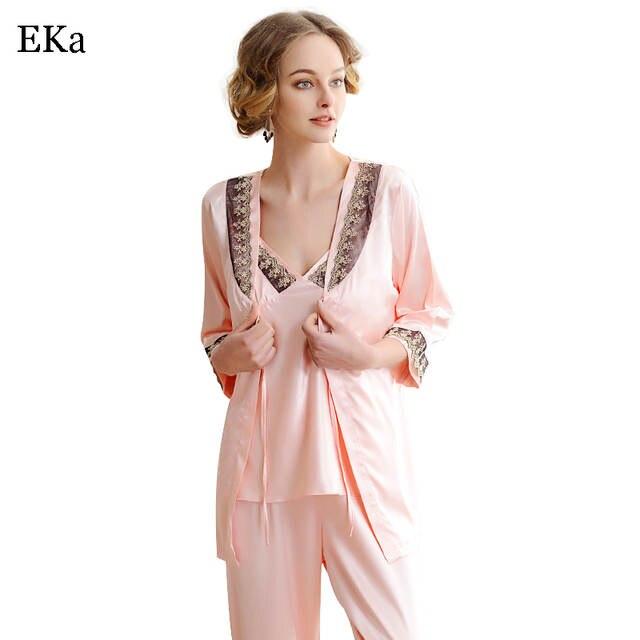 6bcc20d176 Online Shop 2017 Pink Sixy Autumn Silk Nightwear Pyjamas V-Neck Lingerie Set  Top+Pant+Robe Women Bathrobes Imitation Silk Pijamas Pajamas