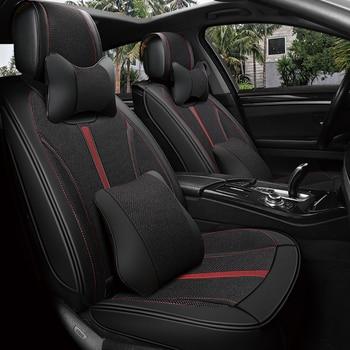 Top leather flax Car Seat Covers car-styling Car Seat Cushions Car pad,auto seat cushions For Hyundai i30 ix35 ix25 Elantra Sant