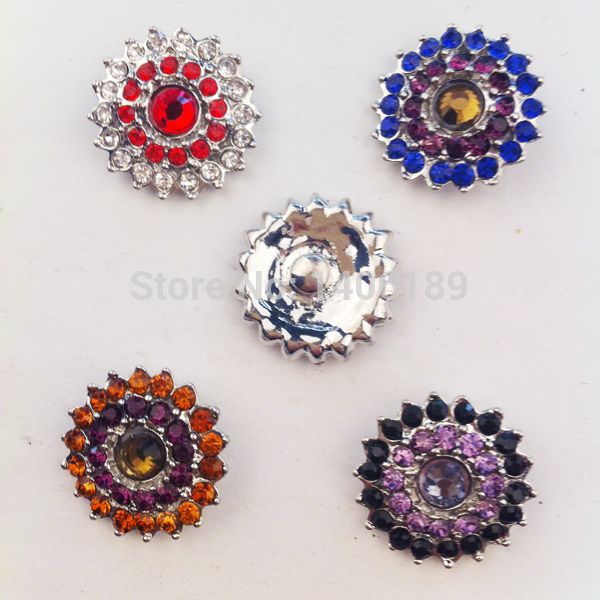 7e17d827bb Hot 20pcs lot High quality Mix colors 18mm Metal flower snap new button  watch Rhinestone Styles Button watch Snaps Jewelry