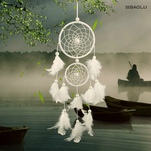 2018 white dream catcher decor new 2 circle white feather for Wall Car Decoration gift dream 60 white glass white