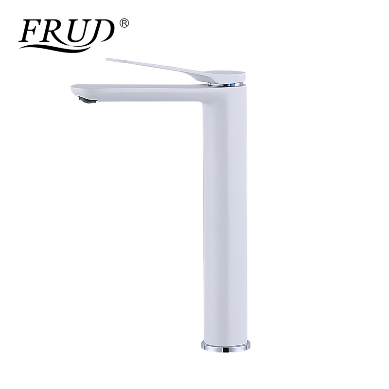 FRUD Newly White Painting Bathroom Mixer Basin Spray Paint Single Handle Sink Faucet Deck MountedCold And