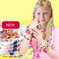 450 pçs/set bandas tear DIY Pulseira Acrílico Bead set Acessórios Menina Brinquedos Infantis Mistos Contas com Contas de Caixa para As Crianças