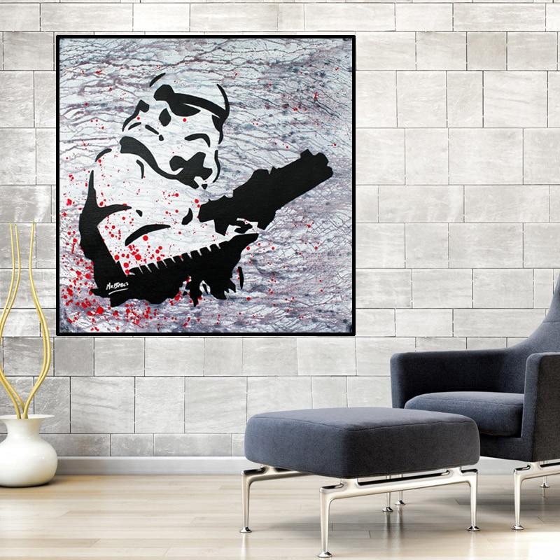 Black And White Artwork For Bedroom: Modern Graffit Pop Star Wars Black And White Canvas