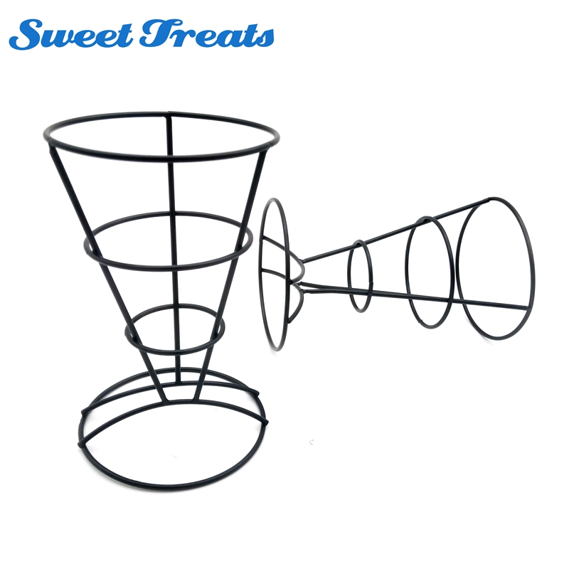 2-Piece French Fry Stand Cone Basket Holder for Fries Fish and Chips and Appetizers