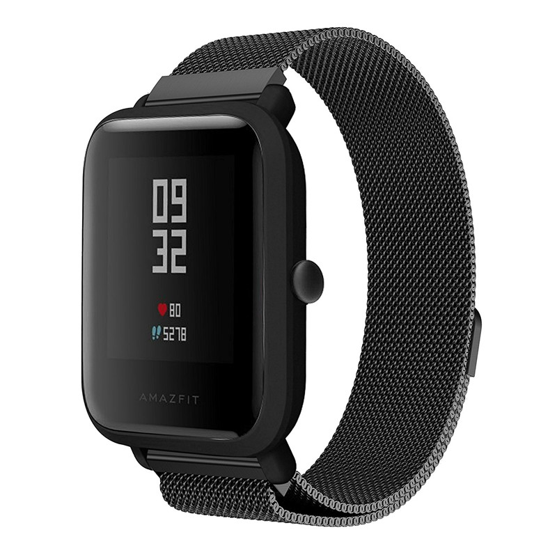for Xiaomi Amazfit bands 20mm Milanese Loop Magnetic Replacement Stainless Steel Watch Strap for Xiaomi Huami Amazfit Bip Younth