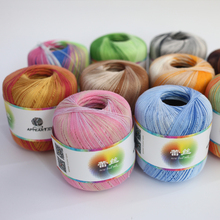 300g(50g*6pcs) Cotton Metallic Lace Rainbow Yarn Colorful Thin Thread For Crocheting Knitting By 1.55mm Crochet Hooks