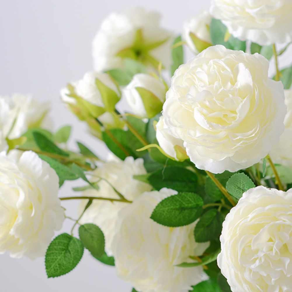3頭シルク牡丹人工花支店葉模造ヨーロッパ牡丹偽フローレス用ホームホテルの結婚式の装飾a0445