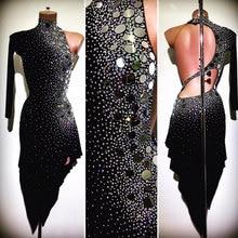 Sukienka do tańca latynoskiego kobiety z jednej strony rękaw sukienka do tańca latynoskiego czarna sukienka do tańca towarzyskiego tango nieregularna sukienka koktailowa 라틴스 스