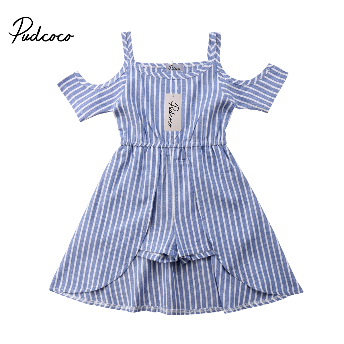 Kids Baby Girls Striped Off Shoulder   Romper   Fashion Summer Short Sleeve Jumpsuit Clothes
