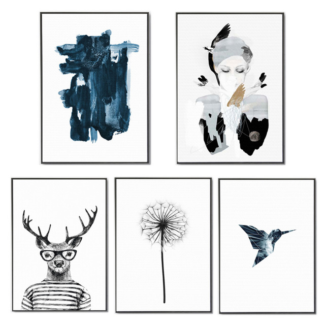 Dekorative Wandbilder Aquarell Deer Löwenzahn Leinwand Kunstdruck