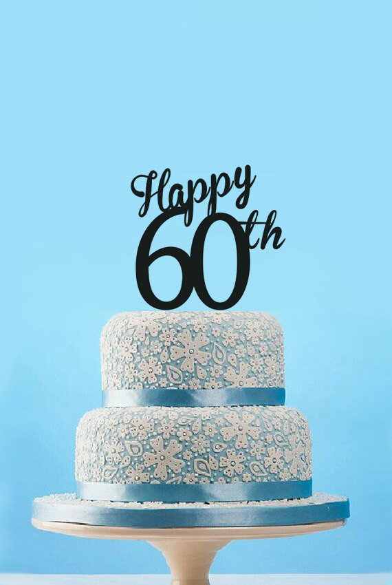 Glucklich 60th Birthday Cake Topper Custom Anniversary