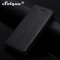 Solque Real Genuine Leather Magnet Flip Case For IPhone 4 4S Cell Phone Luxury Magnet Folio