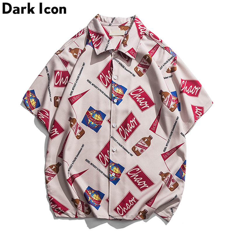 Dark Icon Full Printing Shirt Men Turn-down Collar Summer HipHop Fashion Shirt Men's Hipster Shirt Streetwear Clothes