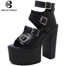 BONJOMARISA Women's Fashion Platform Waterproof Super High Heeled Girls Shoes Women Summer Boots Ankle Boots Woman Shoes(China)
