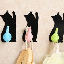 Creative Cute Cartoon Cat Non-trace Free Nail Hook Stick Kitchen Bathroom Wall Hooks Behind The Door Hook