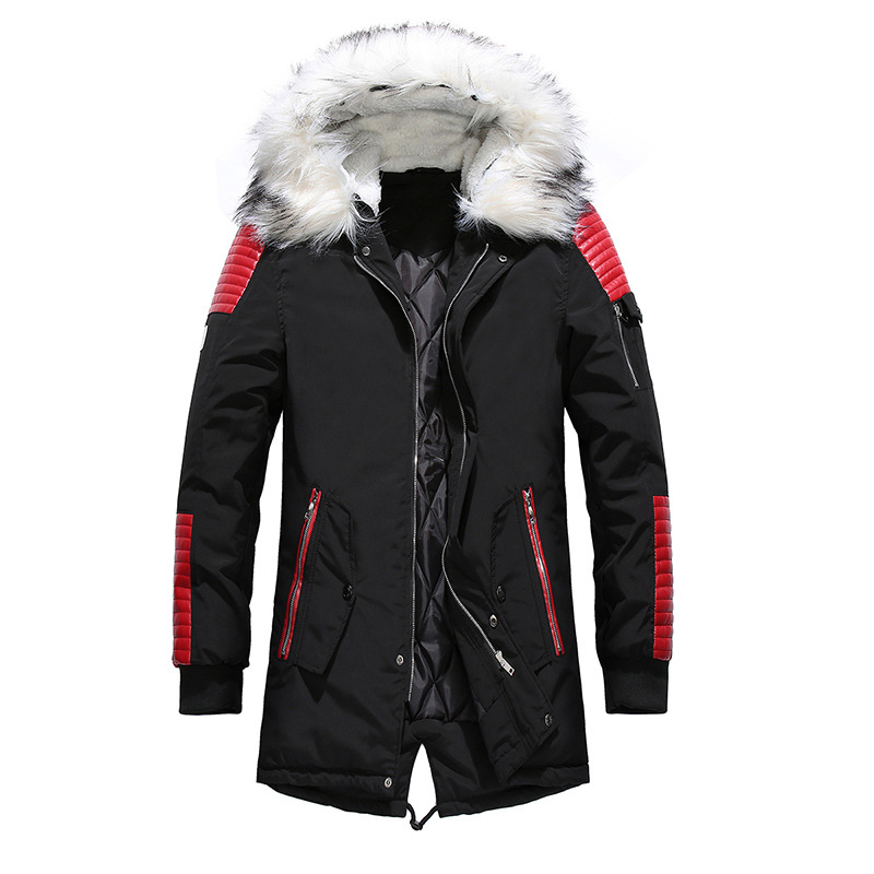 Dropshipping New Winter Jacket Men Thicken Warm   Parkas   Casual Long Outwear Fur Hooded Collar Jackets and Coats Men veste homme