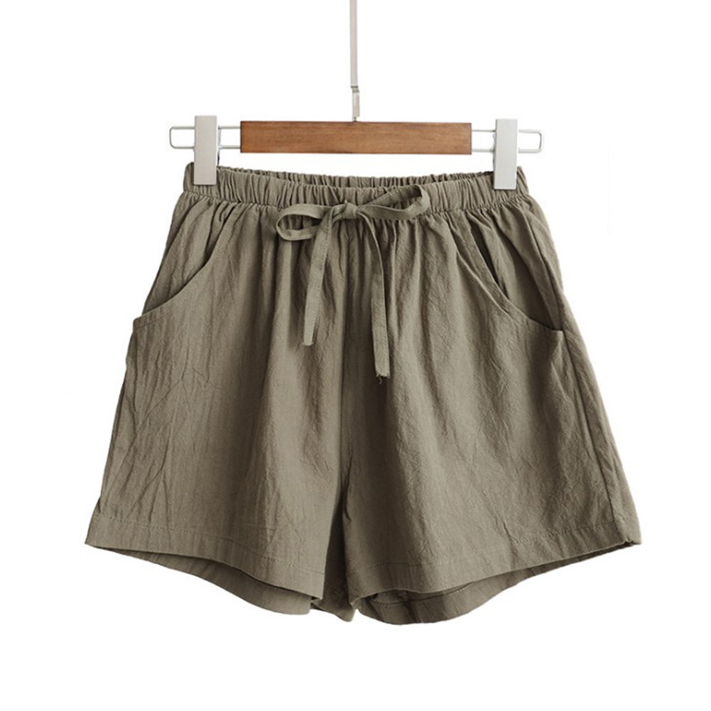 HTB1mk.FblCw3KVjSZFuq6AAOpXaW - Women Female Casual Solid Color Cotton Linen Shorts Ladies Summer High Waist Loose Elastic Drawstring Club Holiday Short Pants