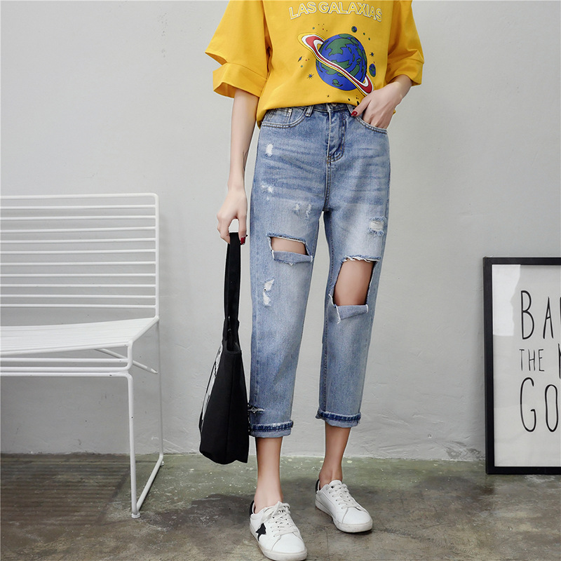 Women Stretch Denim Pencil Pants Casual Slim Hole Jeans Summer Long Trousers Mid Waist Cowboy jeans in Jeans from Women 39 s Clothing