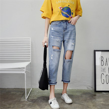 Women Stretch Denim Pencil Pants Casual Slim Hole Jeans Summer Long Trousers Mid Waist Cowboy jeans цена 2017