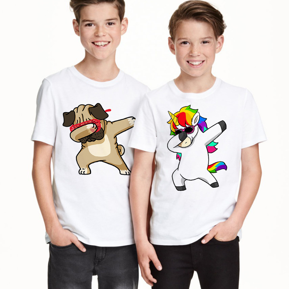 Boys T-Shirt Dabbing Unicorn Children Tee Animal Baby-Girls Panda/dog Kids Cartoon Summer