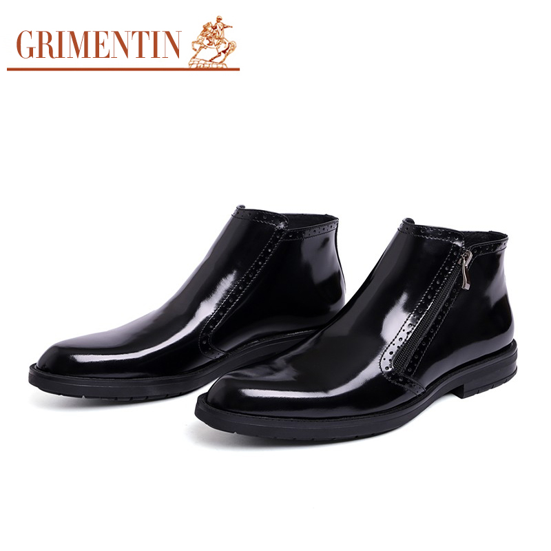 GRIMENTIN Hot Sale 2017 Fashion Designer Classic Men Ankle Boots Genuine Leather Winter Luxury Men Business Shoes Man Boots grimentin fashion 2016 high top braid men casual shoes genuine leather designer luxury brand men shoe flats for leisure business