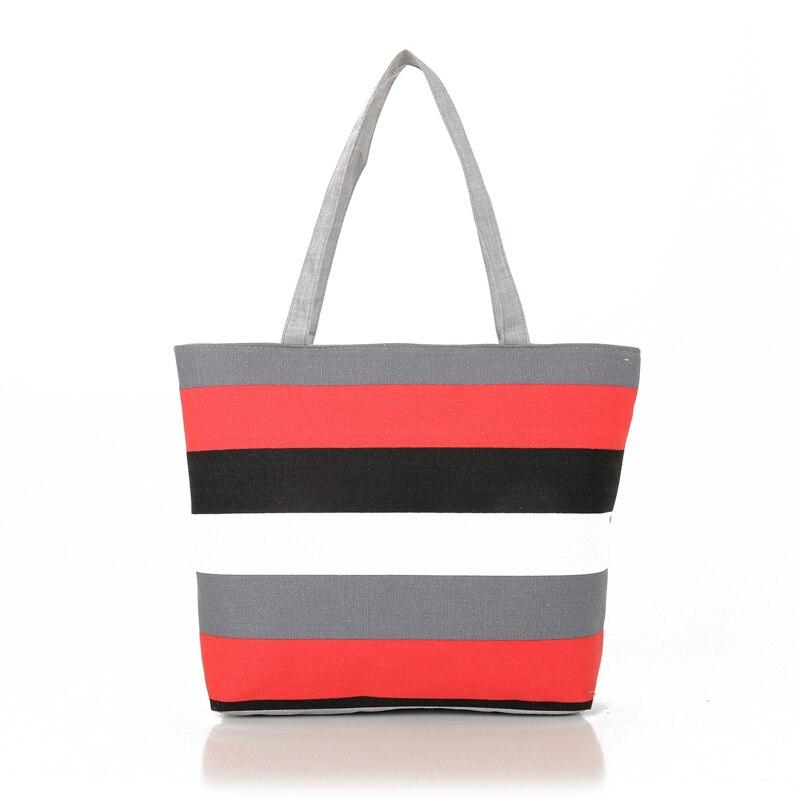 Women Casual Bags Canvas Small Fresh Woman Handbags Bags Simple Striped Female Fashion Bags