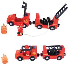 купить Electric Fire Truck Sets Toy car with Alarm Bells Car Model Vehicle Toys gift Compatible With Wooden Tracks Magnetic Design дешево
