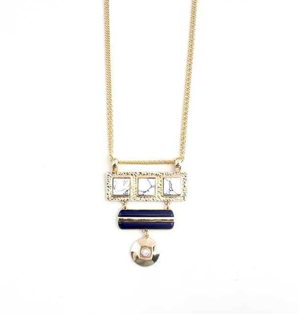 Online shop new fashion pendant necklace gold chain link natural new fashion pendant necklace gold chain link natural stone simple design jewelry bib statement necklaces for women girl gift mozeypictures Gallery