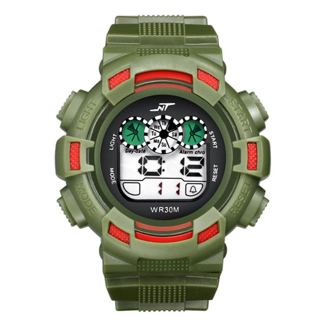 2018 Mens watches New Fashion LED Digital Date Alarm Waterproof Rubber Sports Ar