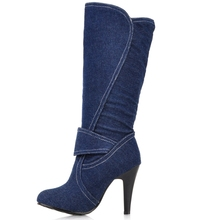 Women Knee High Long Boots Sexy Spiked High Heel Shoes
