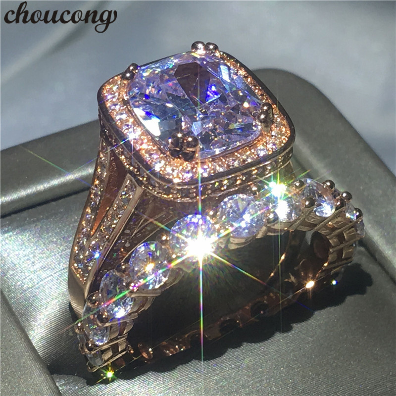 choucong Lovers ring set cushion cut 8ct Clear 5A zircon