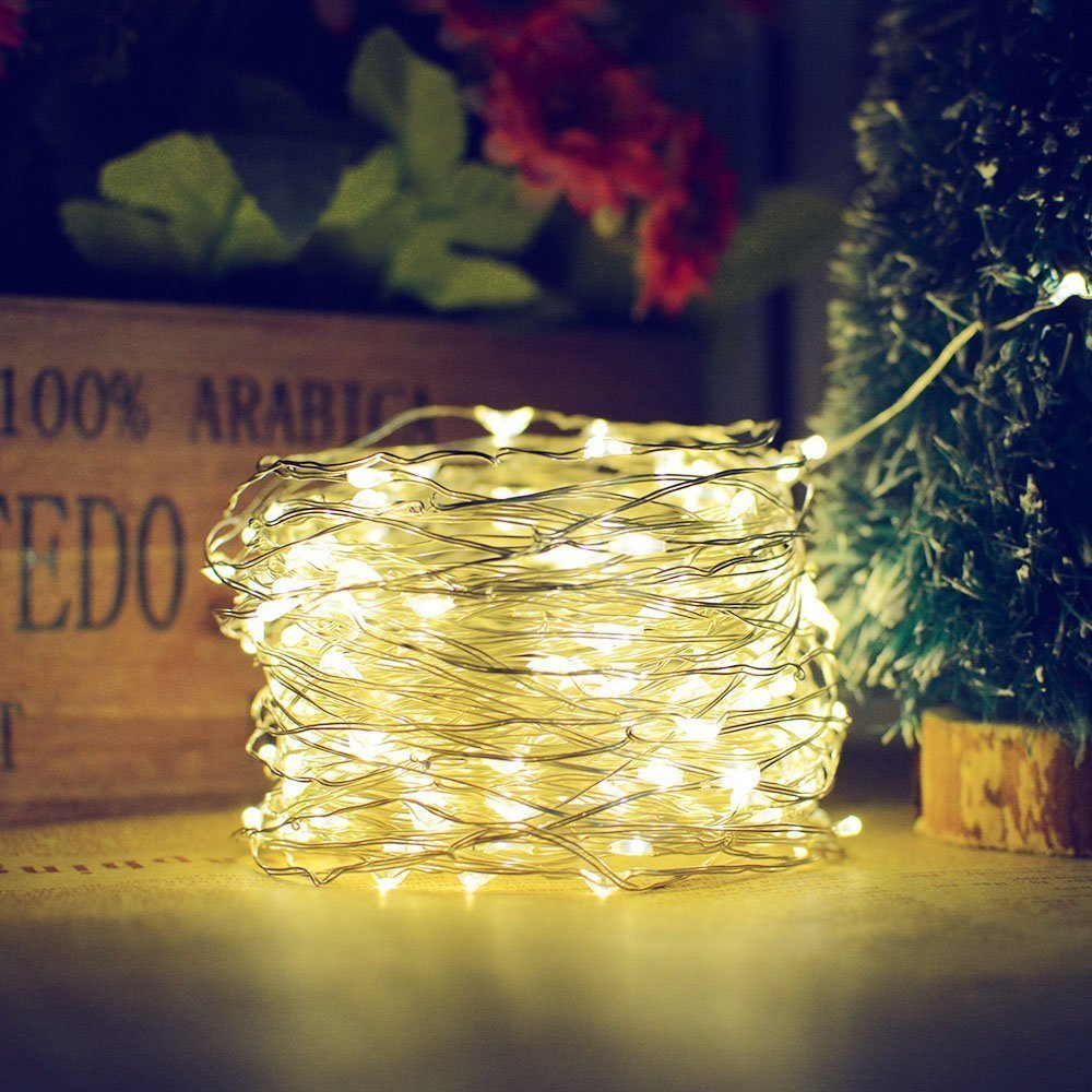 2m 5m Led Garland Fairy Sliver Copper Wire String Lights Battery Case Lamp Operated For