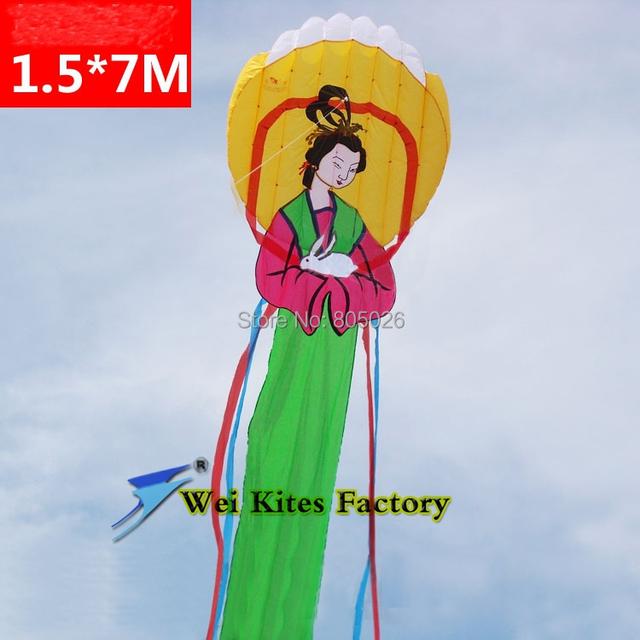 Envío de la alta calidad 7 m gran cometa suave hermosa princesa a la Luna softable kite kite kite wei de cuento de hadas tela