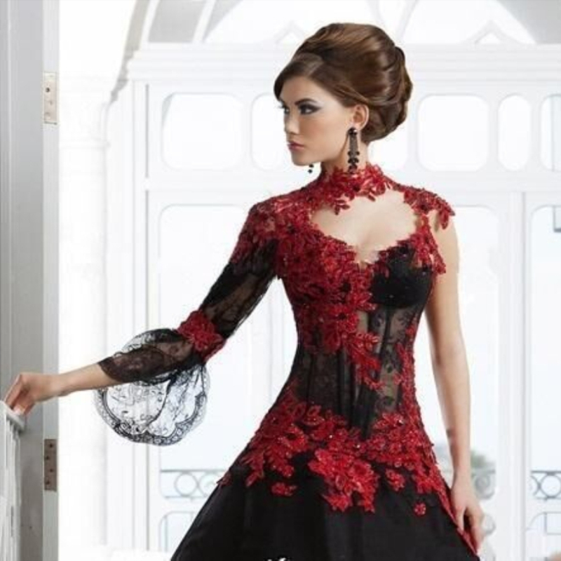 2019 Gorgeous Prom Dresses Gothic Black Ball Gown Red Appliques Beading Evening Dresses Women Gown One Sleeve Robe De Soiree