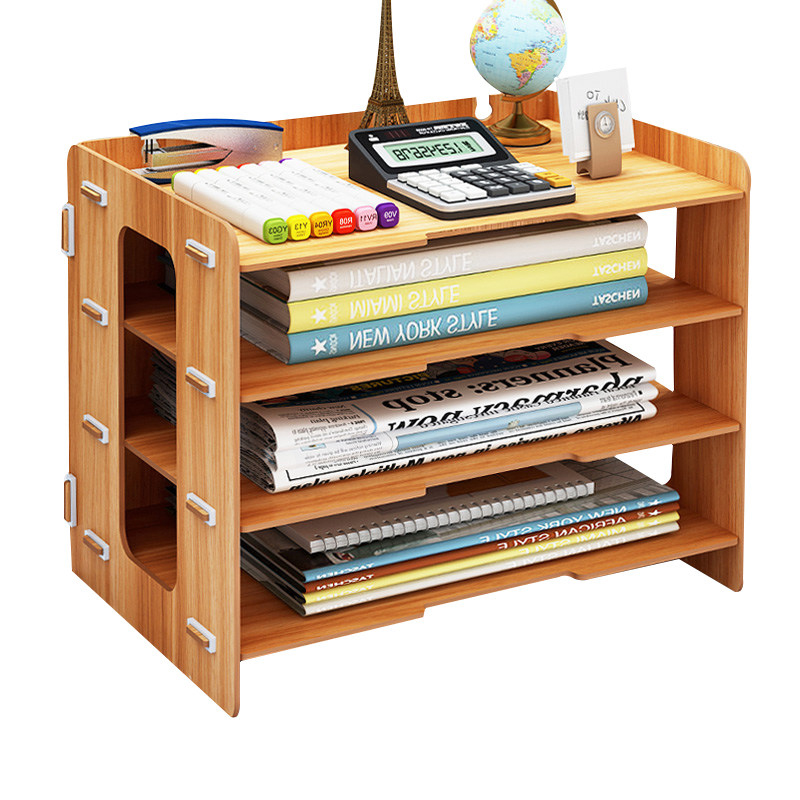 Minimalist DIY Desktop Finishing Shelves Data File Storage Box Magazine Books Organizer Rack Holder Office Bookshelf ...