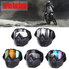 3386738038 Motorcycle Goggles Full Face Mask Helmet Sunglasses Ski Snowboard Motocross  Motorbike Motor Detachable Goggle Glasses(