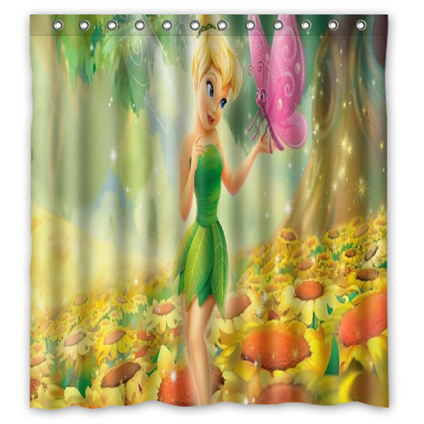 A Girl Never Outgrows Tinkerbell Shower Curtain Decorative Fabric
