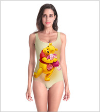Triangle bikini one-piece swimsuit female sexy bathing suit 3D Print Cartoon Bear and pig friend bodysuit Top Tees women's Modal bear print top