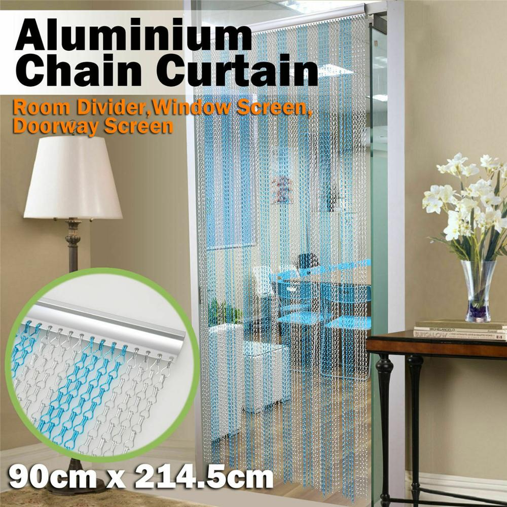 Aluminium Chain Door Window Curtain Metal Screen Fly Insect Blinds Pest Control, Blue And Silver