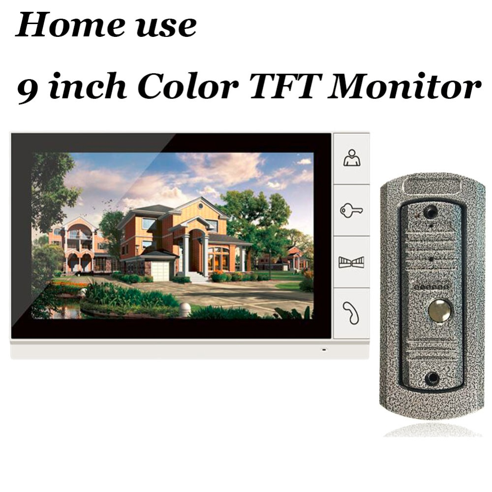 9inch tft monitor video intercom video doorphone speakerphone intercom system white monitor outdoor with waterproof ir
