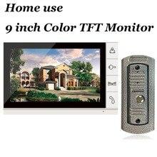 Для домашнего использования 9 Дюймов Цветной ЖК-Видео Домофон Домофон Видео-Дверной Звонок С ИК-Камеры