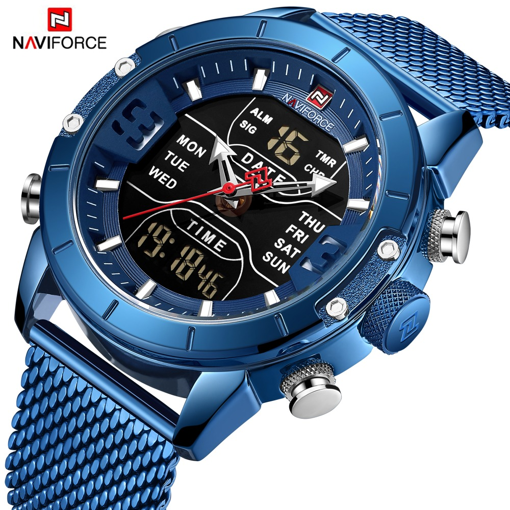 NAVIFORCE Mens Watches Top Brand Luxury Sport Watch Men Mesh Strap 30M Waterproof Miliary Dual Display Wrist Watch Clock Blue