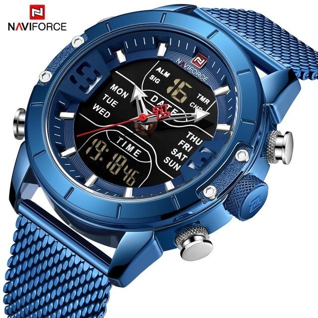 Relojes Para Hombre de NAVIFORCE, reloj deportivo de lujo de marca superior, correa de malla para hombre, reloj de pulsera con doble pantalla a prueba de agua, 30 M azul