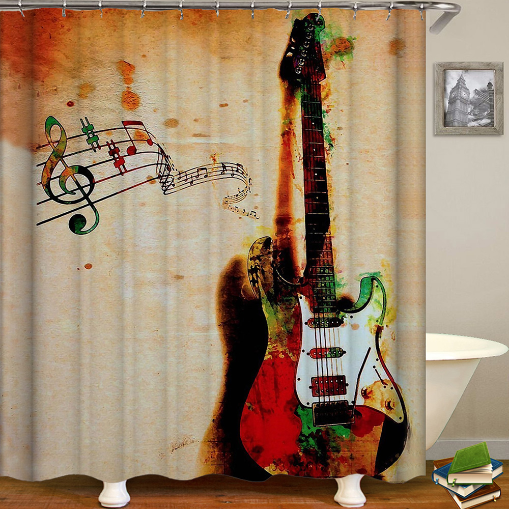 Image 2 - Cortina De Bano Musica Shower Curtain Music Band Jazz Cortina De Ducha Musical Instruments Bathroom Curtain Rock Dance Sound-in Shower Curtains from Home & Garden