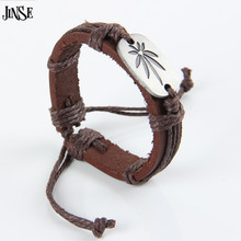 Brown Cow Leather Wrap Bracelet Wristband Women Men Plant Weed Hand Braided Cuff Bangle Colour random PSL183