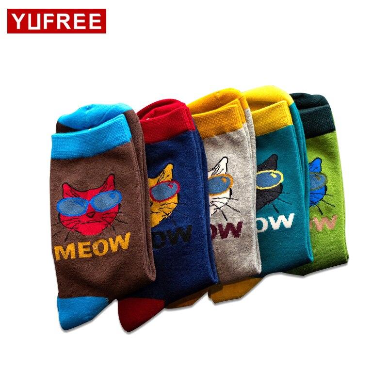 Trend Sunglasses Cat Men Socks Cotton Hit Color Patchwork Male Socks Crew New Mens Dress Socks mannen sokken HE98