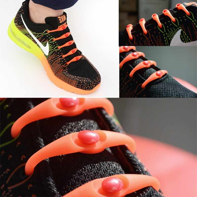 12 unids/lote negro redondo creativo sin ataduras Cordones elásticos de silicona zapato de moda Unisex hombres mujeres todas las zapatillas se ajustan Correa nueva